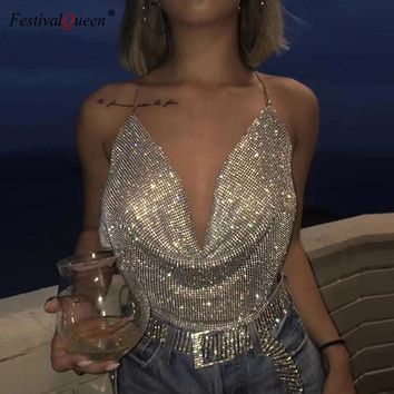 Rhinestone Backless Party Crop Top