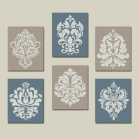 Beige Blue Wall Art, Bedroom Pictures Canvas or Prints Bathroom Decor, Bedroom Pictures, Damask Wall Art, French Country Set of 6 Pictures