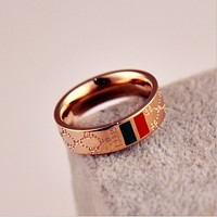 Gucci plated 18k rose gold classic red and green pattern letters titanium steel ring couple models on the ring men and women ring