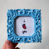 I heart you -- small cross stitch for your love, with anatomical heart in square frame or round hoop, gift for him or her