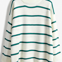 White Striped Loose Sweater