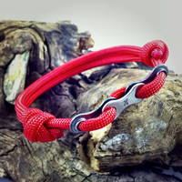 Paracord Bracelet in Red with Bike Chain Links