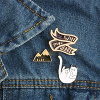 Cartoon Win Badge Cute Cat Mountain Brooch Pin Badge Pins Denim Jacket Button Metal Enamel Kids Women Men Brooches Jewelry Gifts
