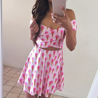 Icecream Print Two Piece Dress