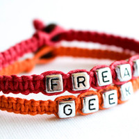 Freak and Geek Hemp Bracelet Set, Couples, Best Friends, Anniversary Gift, His and Hers, Macrame Jewelry