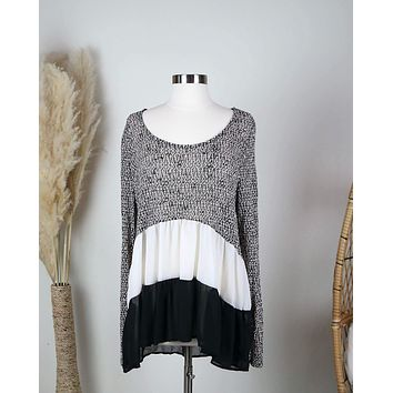 Final Sale - Ruffle Me Up Lightweight Sweater Tunic in More Colors