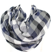 Fall Scarf, Plaid Scarf, Gray and Black, Checkered Scarf, Scarves, Boho Scarf, Oversized Scarf, Fringed Scarf, Womens Scarves