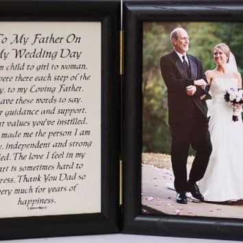 5x7 Hinged TO MY FATHER ON MY WEDDING DAY Poem ~ Black Frame ~ FATHER OF THE BRIDE