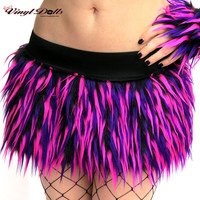 Fluffy Rave Skirt size -S- UV Monster Fur Hot Pink, Purple, Black Club Wear Furry Clothes