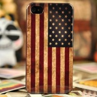 1 X Vintage US American Flag Hard Plastic Case For iPhone 4 & 4S, Halloween Gift