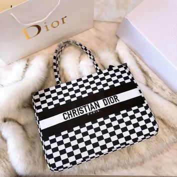 DIOR BOOK TOTE BAG IN BLACK AND WHITE EMBROIDERED CANVAS