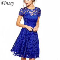 Womens Elegant Sexy Lace See Through Tunic Casual Club Bridesmaid Mother of Bride Dress Skater A-Line Party Dress Lace 3 Color