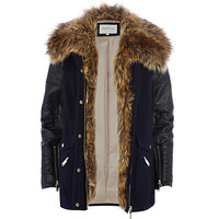 River Island Womens Navy blue faux fur collar wool parka jacket