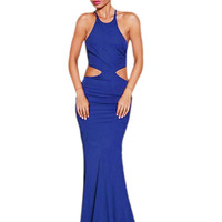 Blue Maxi Dress with Self-tie Detail