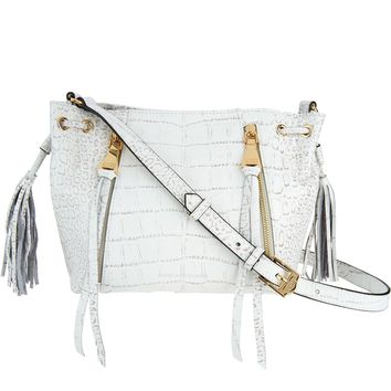 Aimee Kestenberg Ivory Croco Pebble Leather Crossbody