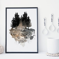 Gem and forest watercolor art print, geometric modern art print, interior decor, home wall art, apartment decor,  gift, diamond, crystal