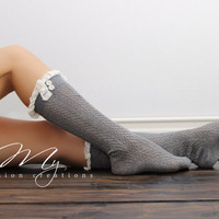 Open Knit Boot Socks Lace Boot Socks Knee High Socks Dark Gray Boot Socks Button Boot Socks