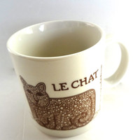 Vintage Cat Mug Taylor & Ng  1978 Le Chat Brown And White