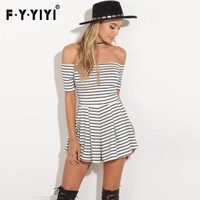 FYYIYI strapless open back dress womens Short sleeves dresses striped ruffles casual pleated dress summer sexy slim mini dresses