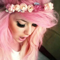 C A N D Y  pink colored pastel/ human hair extension/ clip-in hair/ dip dye ombre (8) hair extensions