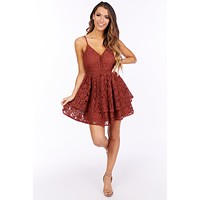 A Romantic Twist Lace Tiered Ruffle Dress (Marsala)