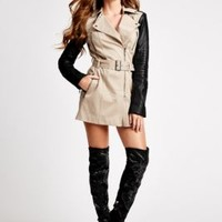 Long-Sleeve Quilted Trench Coat