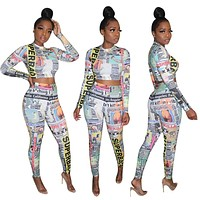 Women Sexy Newspaper Print Two Piece Long Sleeve Top Pant Set