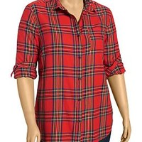 Women's Plus Plaid Flannel Button-Front Shirts | Old Navy