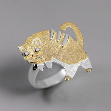 Real 925 Sterling Silver Handmade Fine Jewelry Lovely Scared Cat Rings For Women Bijoux Cute Gift