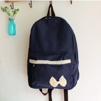 Girl Sweety Lace Bow Canvas Fashion Backpack (Deep-blue)
