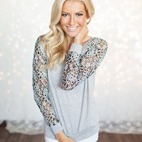 Multi Colored Lace Floral Top Gray CLEARANCE