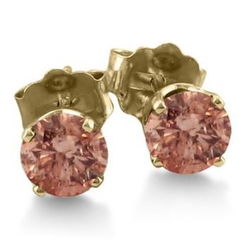 3/4ct Chocolate Bar Colored Champagne Diamond Studs, 10K Yellow Gold With Free Blitz Jewelry Cleaner