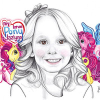 """Custom made pencil portrait with colorful background. 11x14"""" children's portrait. Art with a cause. Personalized drawing. Kid's drawing"""