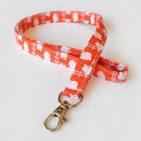 Pig Lanyard / Piglet Keychain / Cute Lanyards / Farm Animals / Key Lanyard / ID Badge Holder / Fabric Lanyard / Barnyard / Cute Lanyard