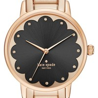 kate spade new york 'gramercy' scalloped dial bracelet & leather strap watch set, 34mm | Nordstrom
