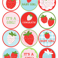 Strawberry Baby Shower Personalized DIY Printable Cupcake Toppers INSTANT DOWNLOAD