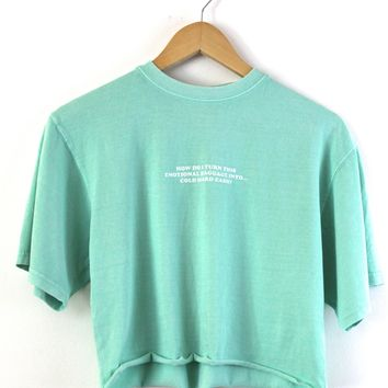 Emotional Baggage Graphic Mint Oversized Cropped Unisex Tee
