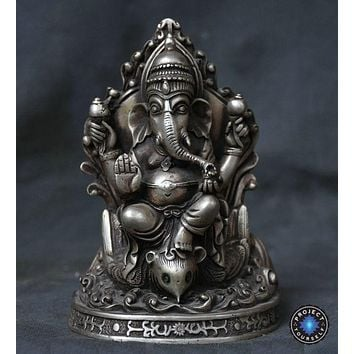 6 Inch Antique Silver Lord Ganesha Statue
