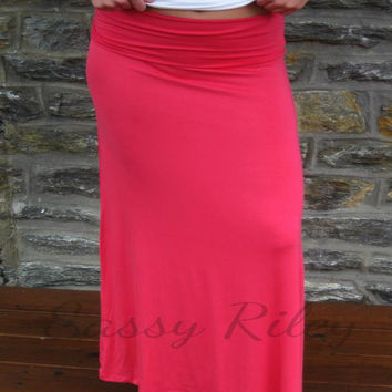 Solid Maxi Skirt -- Pink