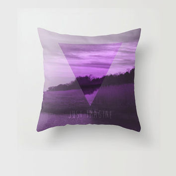 Throw Pillow Decorative Pillow Case Purple Triangle Geometric Modern Imagine Quote Nature Made to Order Photo Pillow 16x16 18x18 20x20