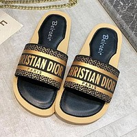 Christian Dior Summer Fashion Women Letter Sandals Flat-Soled Slippers Shoes Black