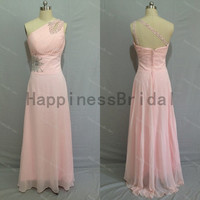 One-shoulder chiffon prom dress with beads,prom dresses,floor length dress 2014,chiffon prom dress,long evening dress 2014,real formal dress