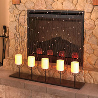 Fireplace Screen with LED Candles