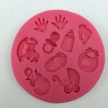 Baby Shower Party stroller hand bottle Trojan silicone mold soap, chocolate fondant cake decoration baking DIY tool E514