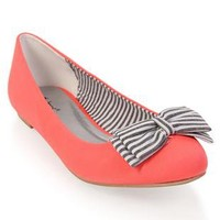 ballet flat with striped bow - 1000049311 - debshops.com
