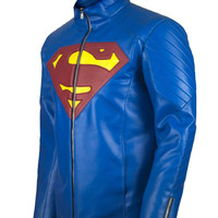 New Superman Leather Jacket with Shield