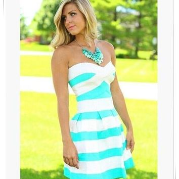 Hot Sale Women Strapless Ball Gown Dress Hit Color Striped Slim Elegant Cocktail Party Dresses = 5739056833
