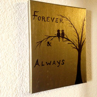 Forever and always Acrylic painting Canvas art Rustic wall decor Love birds painting Bird lover gift Tree silhouette Birds on a branch