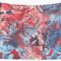 'flowers red and blue pattern #flowers #pattern' Wall Tapestry by JBJart