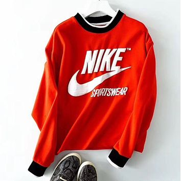 '' NIKE ''Print Sweatshirt Top Sweater Red I